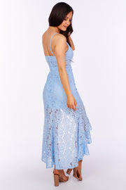 Race to Lace Cascading Ruffled Dress (Light Blue) - NanaMacs