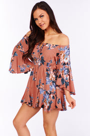 Devoted To You Floral Ruffle Romper (Mauve) - NanaMacs
