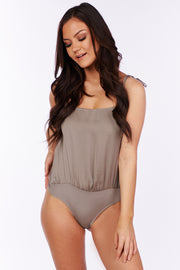Together For Now Tie Strap Bodysuit (Stone) - NanaMacs