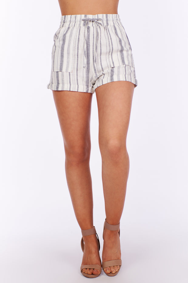 Favorite Things Striped Cuffed Shorts (Grey)
