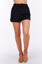 No One Around Drawstring Shorts (Black) - NanaMacs