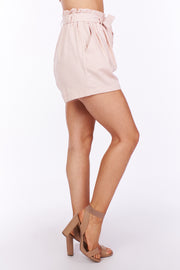 Hey Shortie Paper Bag Waist Linen Shorts (Blush)