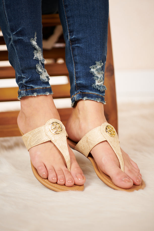 Skipping Rocks Snake Skin Sandals (Beige)