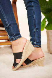 Get It Poppin Wedge Sandal (Black) - NanaMacs