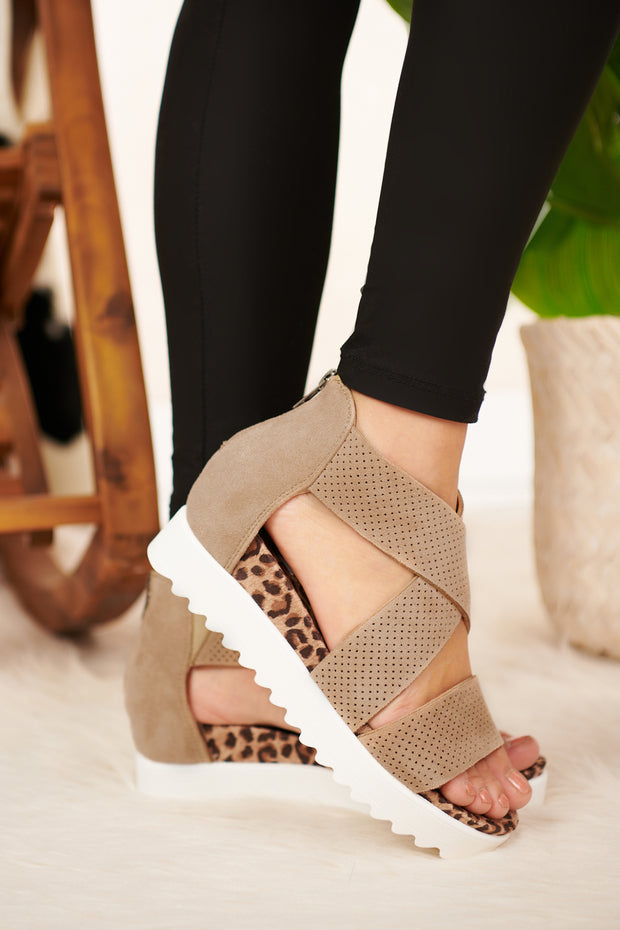 Lift Me Up Leopard Print Platform Sandals (Taupe) - NanaMacs