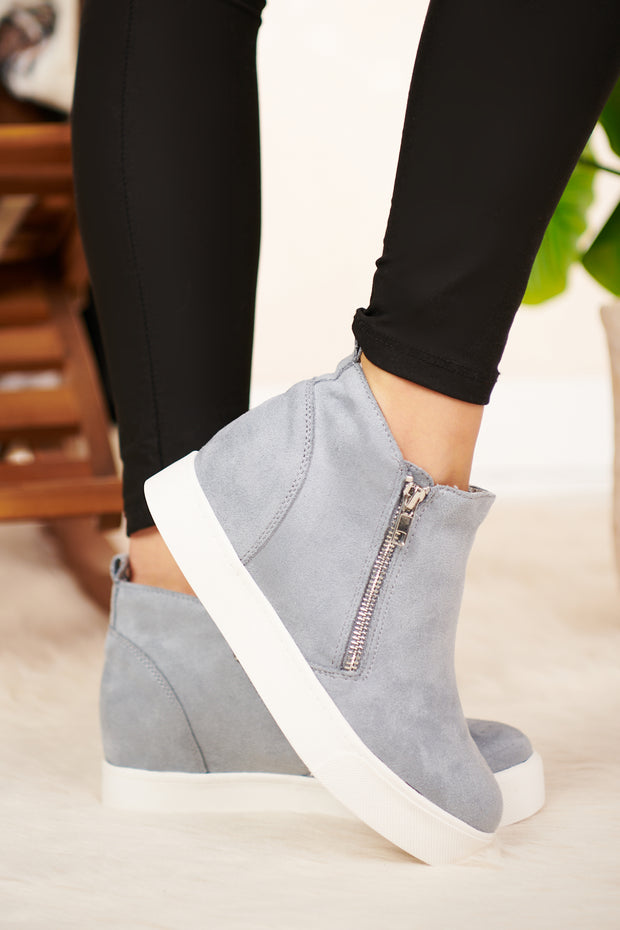 Feeling Blue Wedge Sneakers (Steel Blue) - NanaMacs