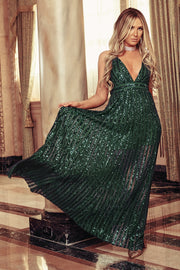 Dance The Night Away Sequin Maxi Dress (Hunter Green) - NanaMacs