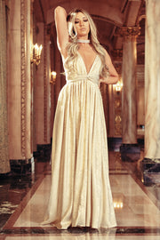 My Time To Shine Metallic Foil Maxi Dress (Ivory/Gold)