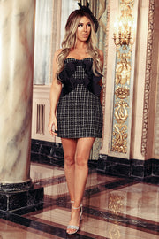 Waldorf Strapless Tweed Mini Dress (Black)