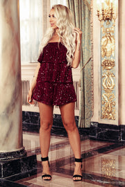 Get Your Attention Sequin Ruffle Romper (Red)