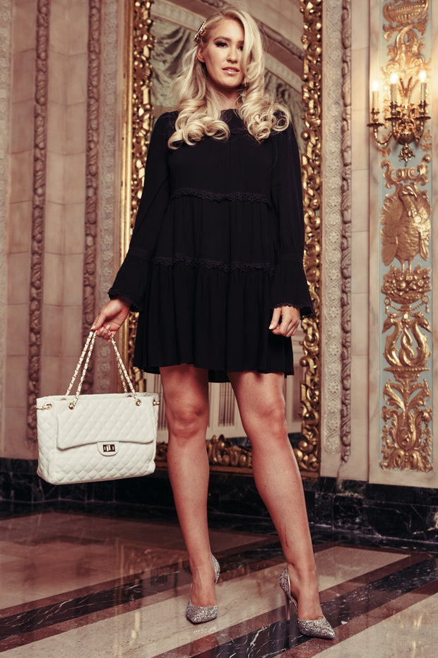 Believe In You Long Sleeve Crochet Detail Dress (Black) - NanaMacs