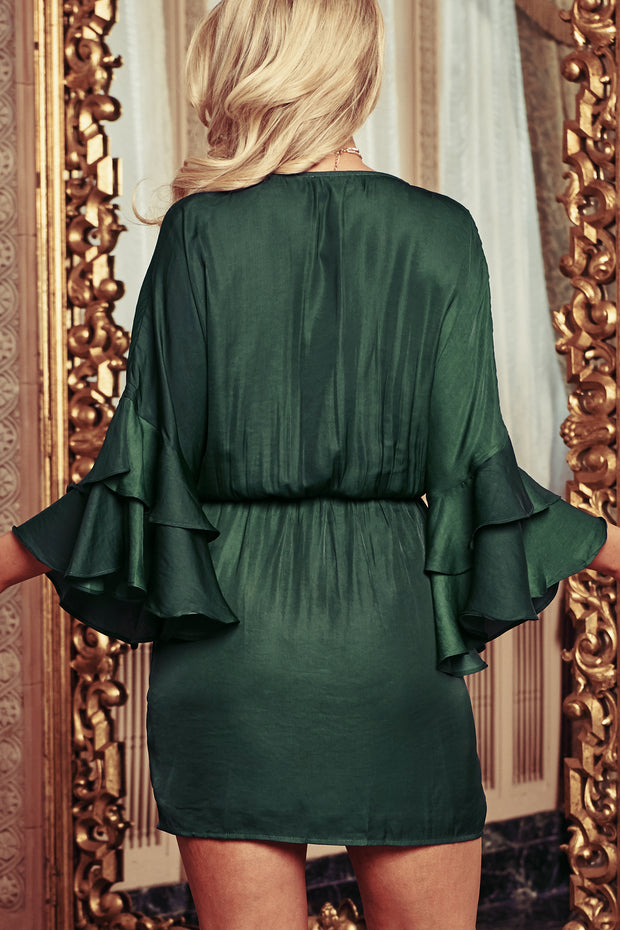 You Had Me At Hello Ruffle Wrap Dress (Forest Green) - NanaMacs