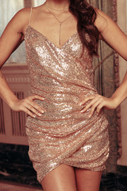 Perfect Night Sequin Mini Dress (Rose Gold)