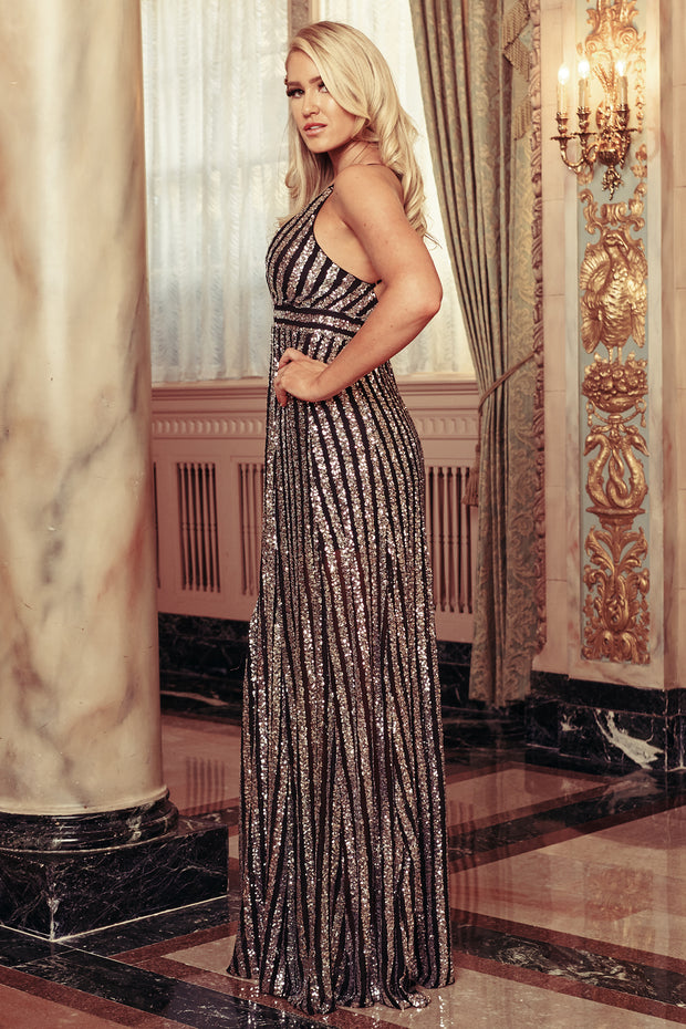 Dance The Night Away Sequin Maxi Dress (Black/Silver)