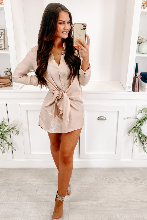 It's A Must Metallic Button Up Dress (Champagne) - NanaMacs