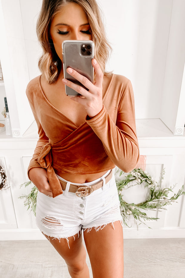 New Look V Neck Velvet Crop Top (Camel) - NanaMacs
