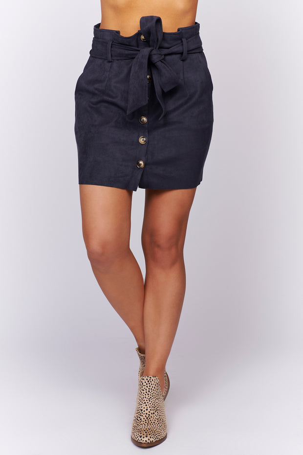 Just Take A Look Buttoned Suede Skirt (Navy) - NanaMacs