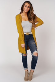 In The Swing Of Things Hooded Cardigan (Mustard) - NanaMacs