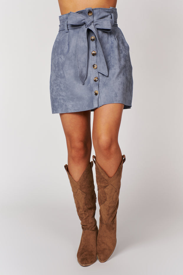 Just Take A Look Buttoned Faux Suede Skirt (Stone Wash) - NanaMacs