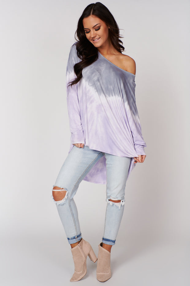 Soft Hearts Tie Dye Top (Lavender/D.Blue) - NanaMacs