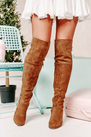Kayline Thigh High Boots (Tan Suede)
