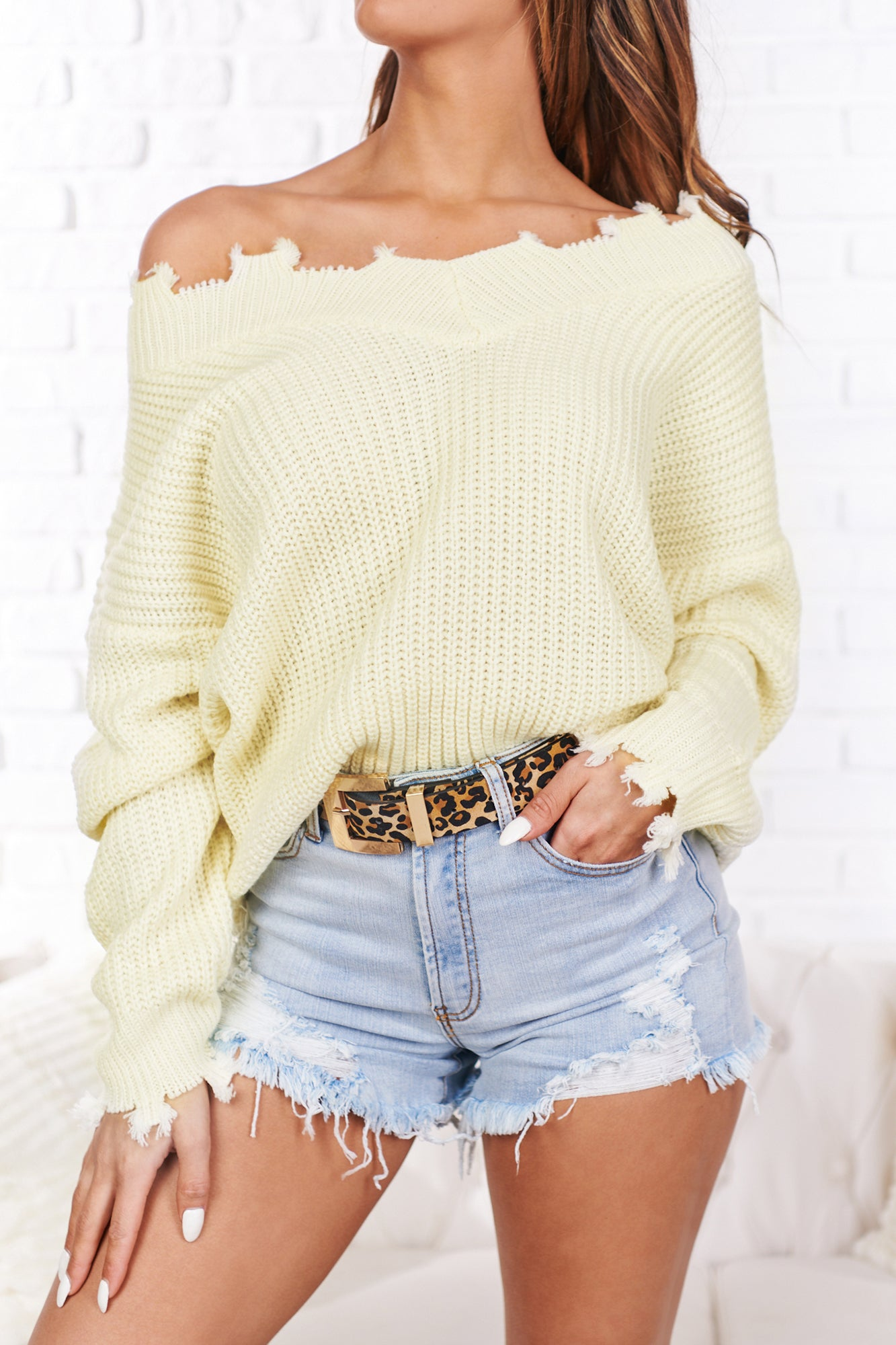 More Than Ever Distressed V-Neck Sweater (Ivory)