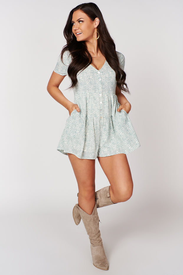 Away Awhile Button Up Floral Romper (Green) - NanaMacs
