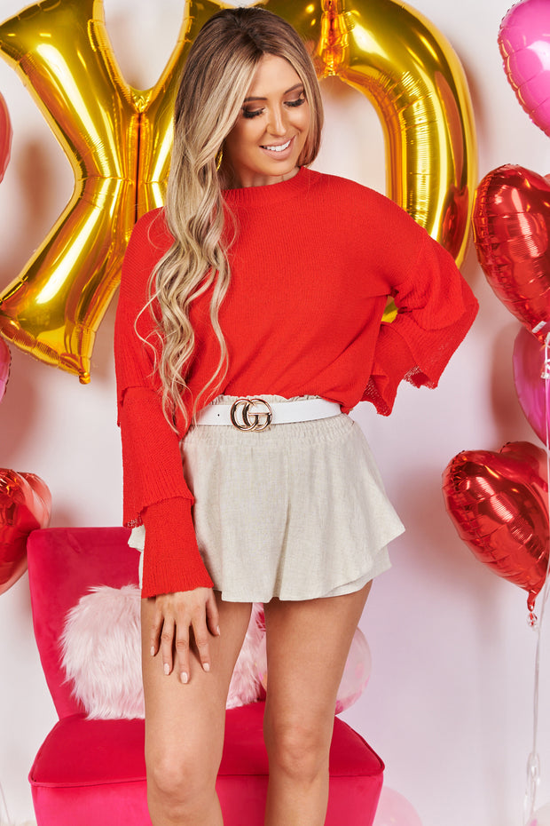 Life is a Party Tiered Ruffle Sleeve Sweater (Red) - NanaMacs