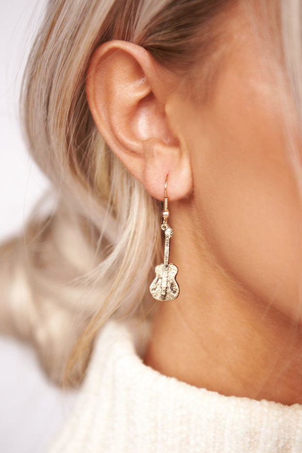Drop The Top Dangle Earrings (Antique Gold)