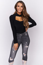 Next Level Collared Bodysuit (Black) - NanaMacs