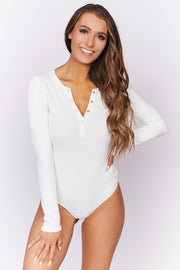 Living Edgy Button Up Bodysuit (Off White)