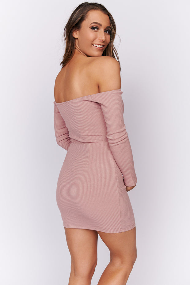 It's A Must Off The Shoulder Dress (Mauve) - NanaMacs