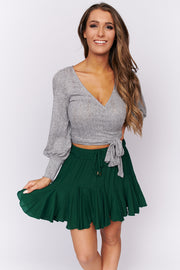 Cut Them Off Bubble Sleeve Top (Heather Grey)