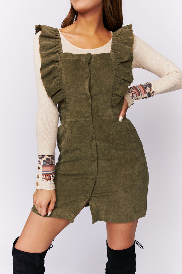 All Your Life Corduroy Dress (Olive)