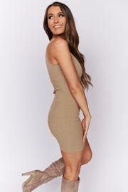 Very Outgoing Ribbed Midi Bodycon Dress (Taupe)