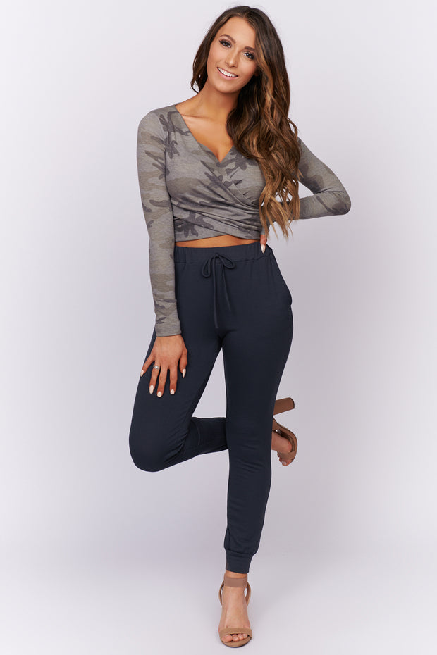 Hit The Ground Running Crop Top (Grey Camo) - NanaMacs