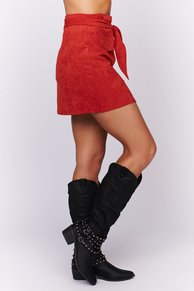 See Your Worth Faux Suede Skirt (Red) - NanaMacs