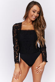 Waiting For A Miracle Lace Bodysuit (Black)