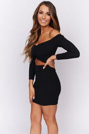 It's A Must Off The Shoulder Dress (Black) - NanaMacs