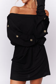 The Perfect Touch Button Detail Top (Black) - NanaMacs