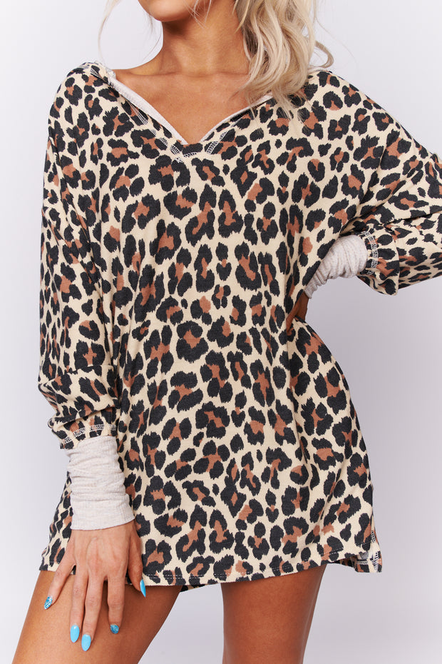 I Know You Leopard Print Hoodie Dress (Taupe/Brown/Black) - NanaMacs