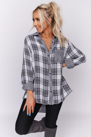 Best Day Ever Plaid High-Low Top (Black/White) - NanaMacs