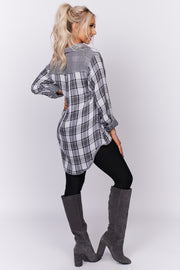 Best Day Ever Plaid High-Low Top (Black/White)