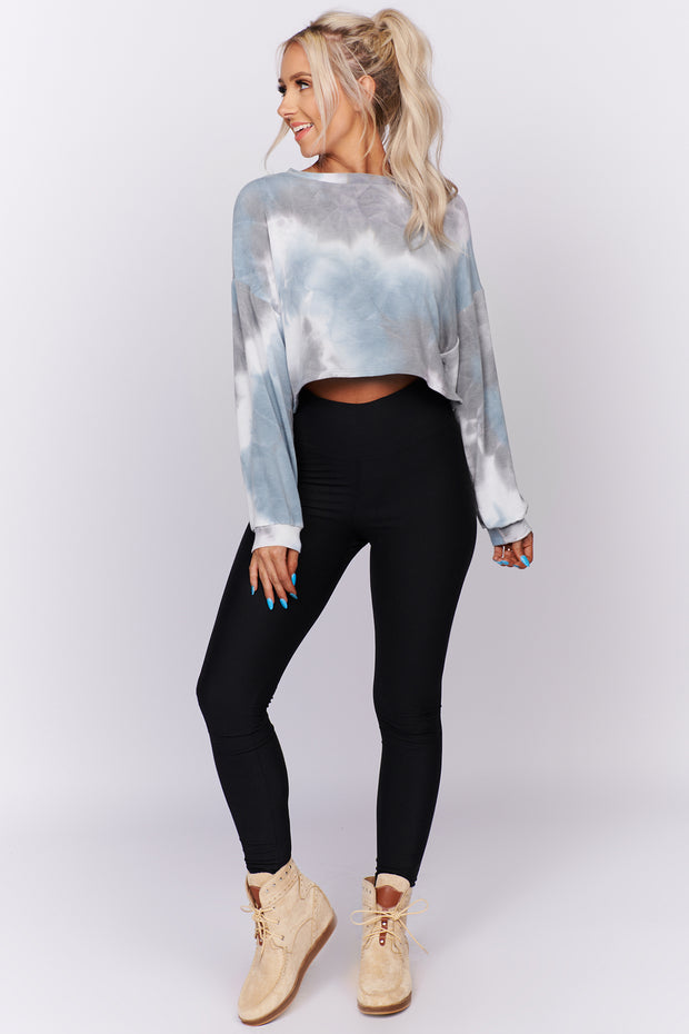On The List Tie Dye Crop Top (Dark Blue/Grey) - NanaMacs