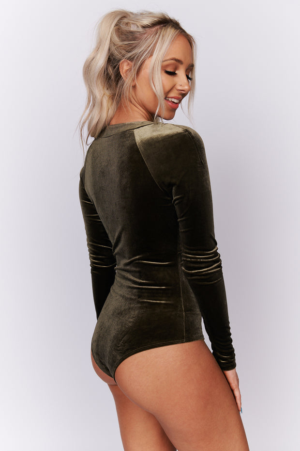 Look At Her Velvet Bodysuit (Olive) - NanaMacs