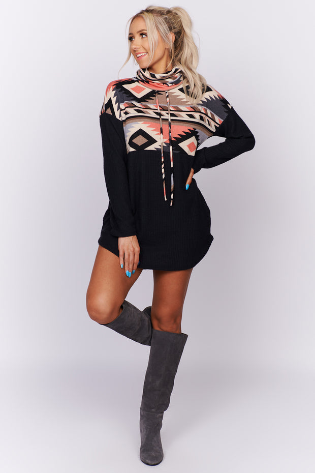 For The Win Cowl Neck Aztec Print Sweater (Black/Pink)