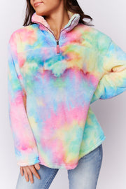 Works For Me Fuzzy Tie Dye Sweater (Rainbow Combo)