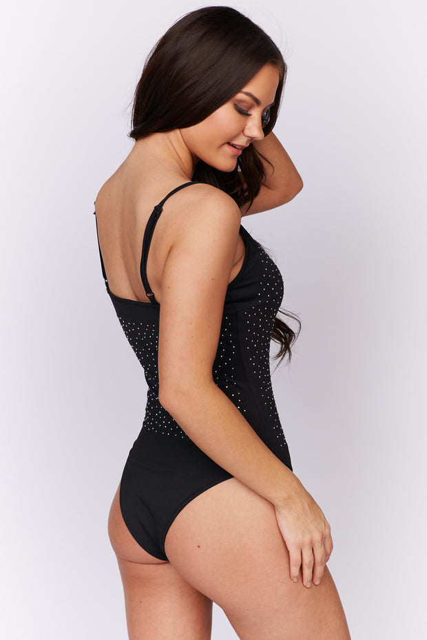 Right This Way Rhinestone Spaghetti Strap Bodysuit (Black) - NanaMacs