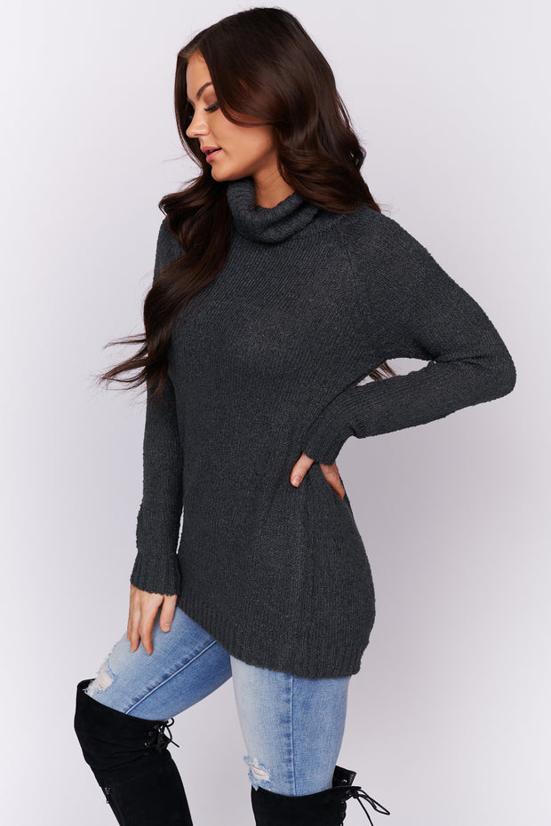 Be Your Best Turtle Neck Sweater (Charcoal)