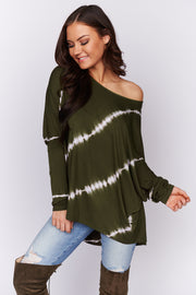 All For Me Tie Dye Top (Olive)
